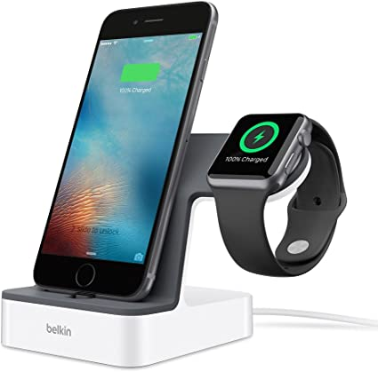 Belkin PowerHouse Charging Dock for Iphone XS, Max, XR, X, 8/Plus and More, Apple Watch 4, 3, 2, 1 (White)