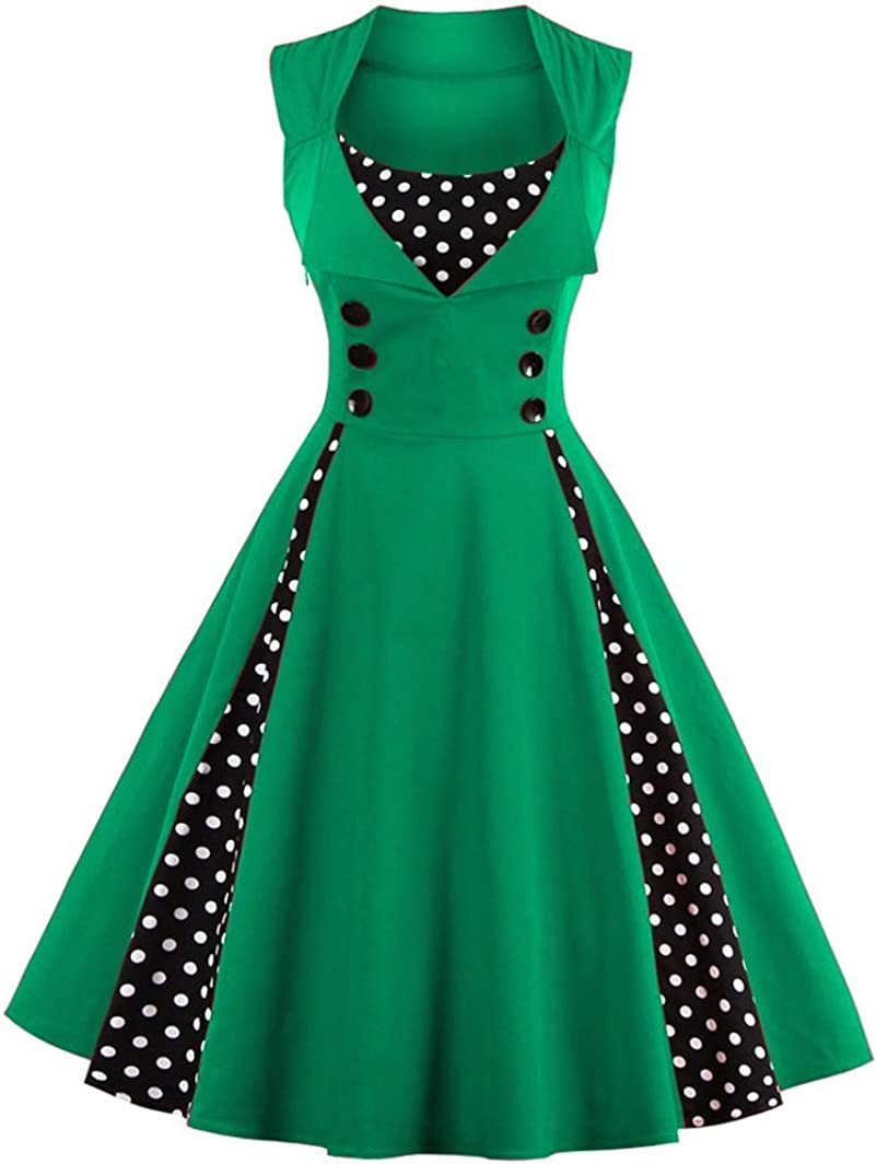TALLA 4XL. VERNASSA 50s Vestidos Vintage,Mujeres 1950s Vintage A-Line Rockabilly Clásico Verano Dress for Evening Party Cocktail, Multicolor, S-Plus Size 4XL 1357-verde