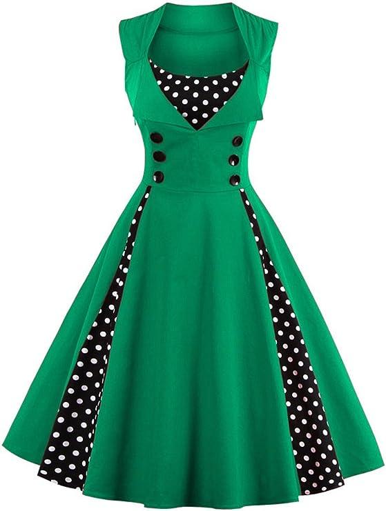 TALLA XL. VERNASSA 50s Vestidos Vintage,Mujeres 1950s Vintage A-Line Rockabilly Clásico Verano Dress for Evening Party Cocktail, Multicolor, S-Plus Size 4XL 1357-verde