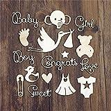 40 miniaturas de madera de bebe baby shower para decorar libro de recortes hijos scrapbooking de fotografias y recuerdos cuadernos de pensamientos diarios secretos.. de OPEN BUY