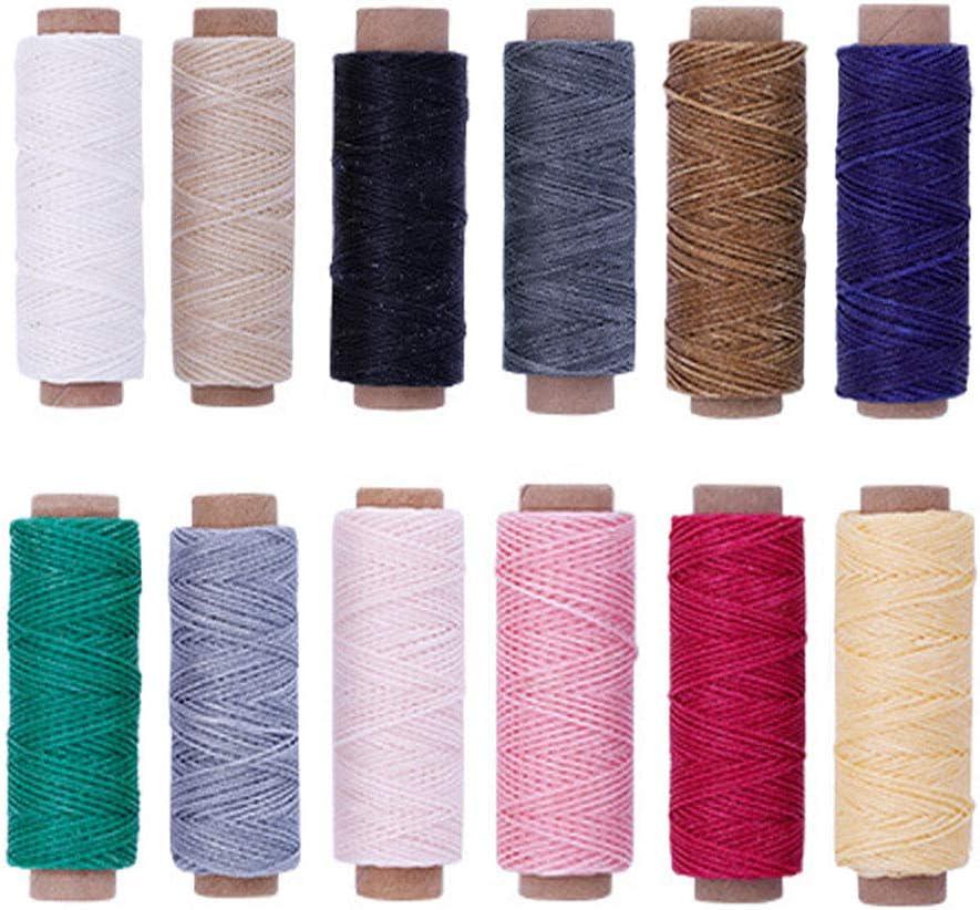 12 Piezas Hilo Encerado de Cuero, 12 Colores Cuero Hilo Encerado, 12 Colores 392 Yardas 150D Cordón de Hilo de Cuero Encerado Para Artesanía de Cuero, Artesanía de Costura DIY