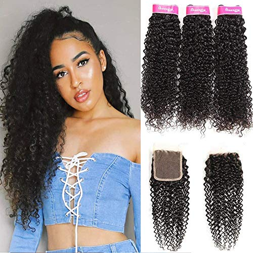 8A Mongolian Hair Bundles With Closure Kinkys Curly for sale  Delivered anywhere in USA