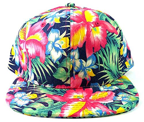 Bright Hawaiian Print Snapback Hat Cap Flat Bill Floral