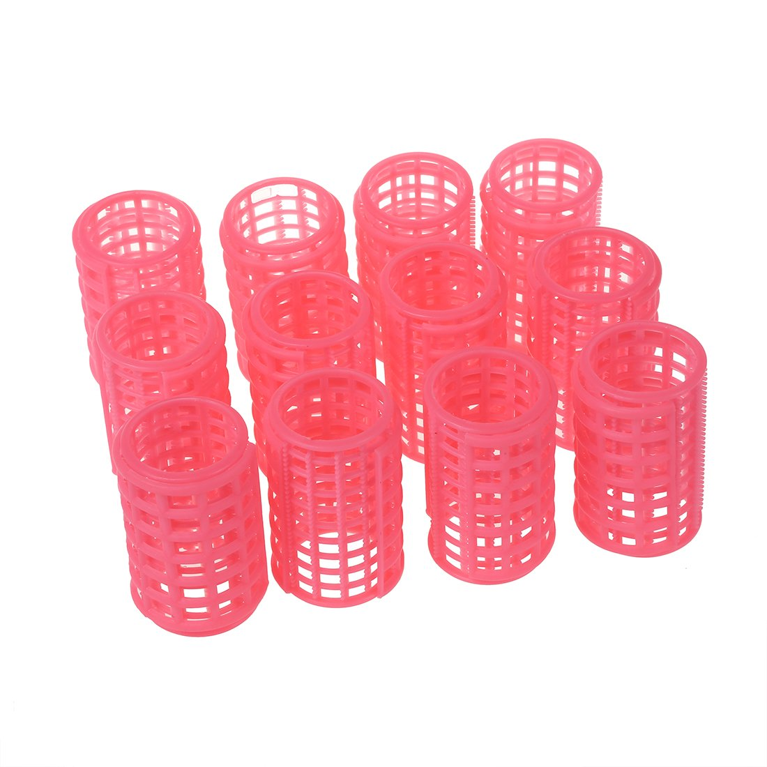 SODIAL(R) 12 Pcs de Clip de rodillo de bigudies de color Rosa De Plastico para Maquillaje DIY peinado 040135