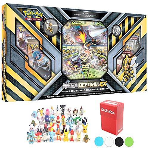 Pokemon Mega Beedrill Ex Premium Collection Box Plus 6 Pokemon Figures and Deck Box
