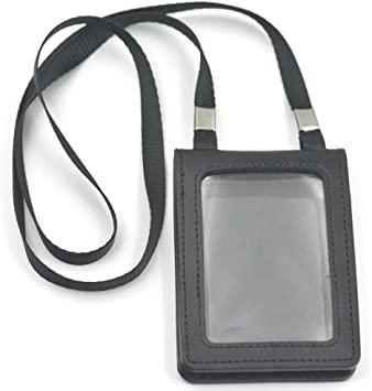 1Pc business card holder wallet PU leather ID card holders neck strap lanyard