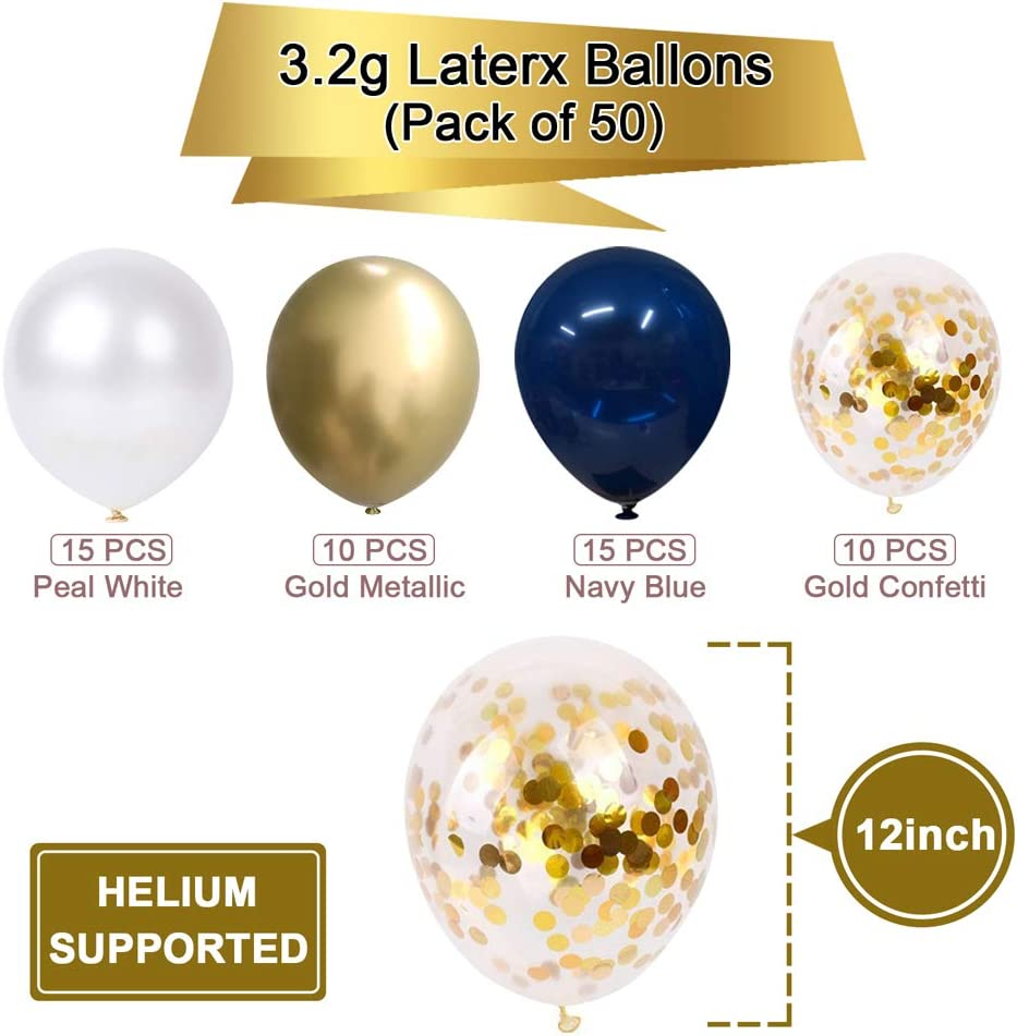 Navy Blue And Gold Confetti Balloons 50 Pcs 12 Inch Pearl White And Gold Metall