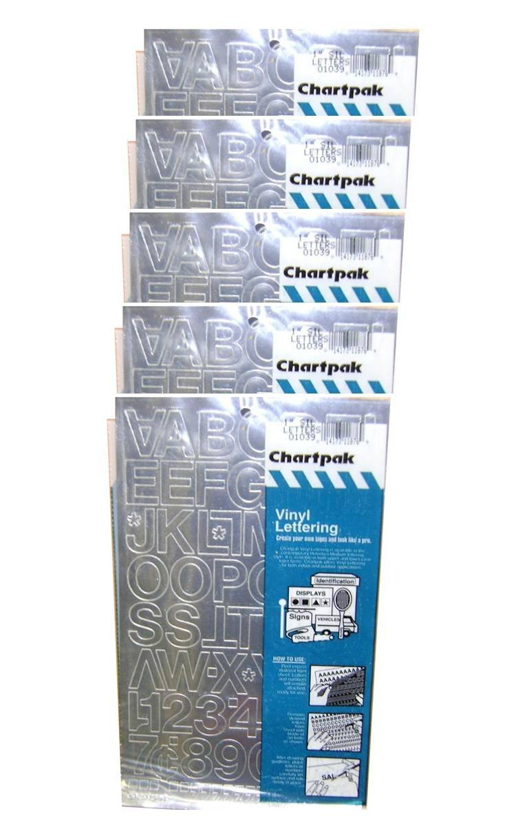 Chartpak 1-inch Silver Stick-on Vinyl Letters & Numbers (01039), 5 PACKS