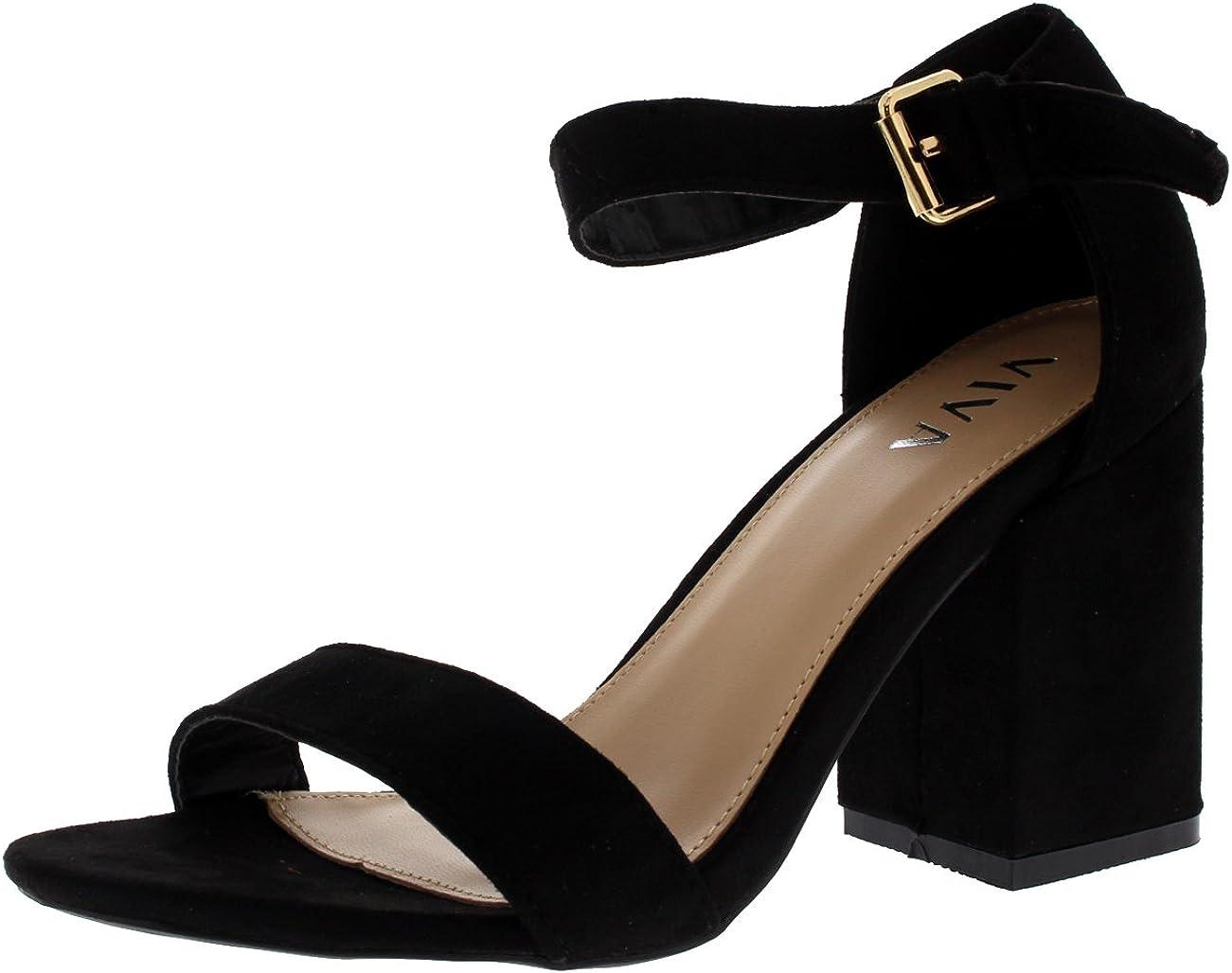 Viva Mujer Ancho Medio Bloquear el Talón Ante Correa de Tobillo Casual Zapato Sandalias