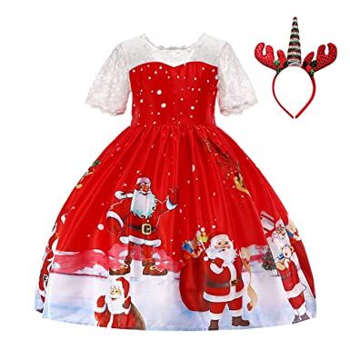 2eeb1fbf7f0 IWEMEK Kids Toddler Girls Princess Unicorn Christmas Party Dress Santa  Snowman Holiday Print Dress Wedding Birthday