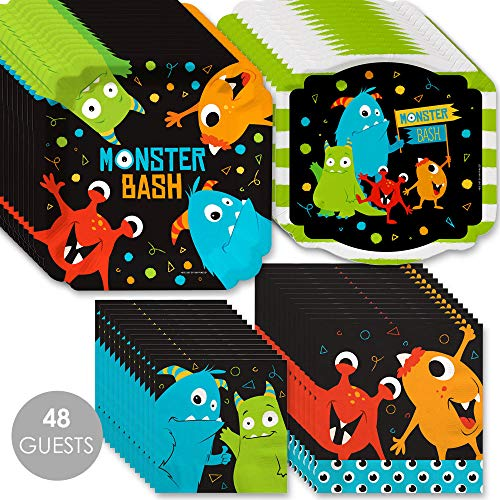 Monster Bash - Little Monster Birthday Party or Baby Shower Tableware Plates and Napkins - Bundle for 48 ()