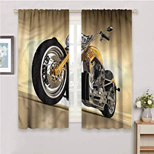 DIMICA Black Out Curtains for Bedroom Motorcycle Futuristic Riding Theme Print for Window Curtains Valances W108 x L84 Inch