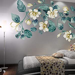LiveGallery Removable Vinyl Fresh Green Leaf and White Flower Wall Sticker Murals Kids Girls Bedroom Nursery Rooms Wall Decals 3d Peel and Stick Decor for Home Living Room Offices Wall Corner (Flower)