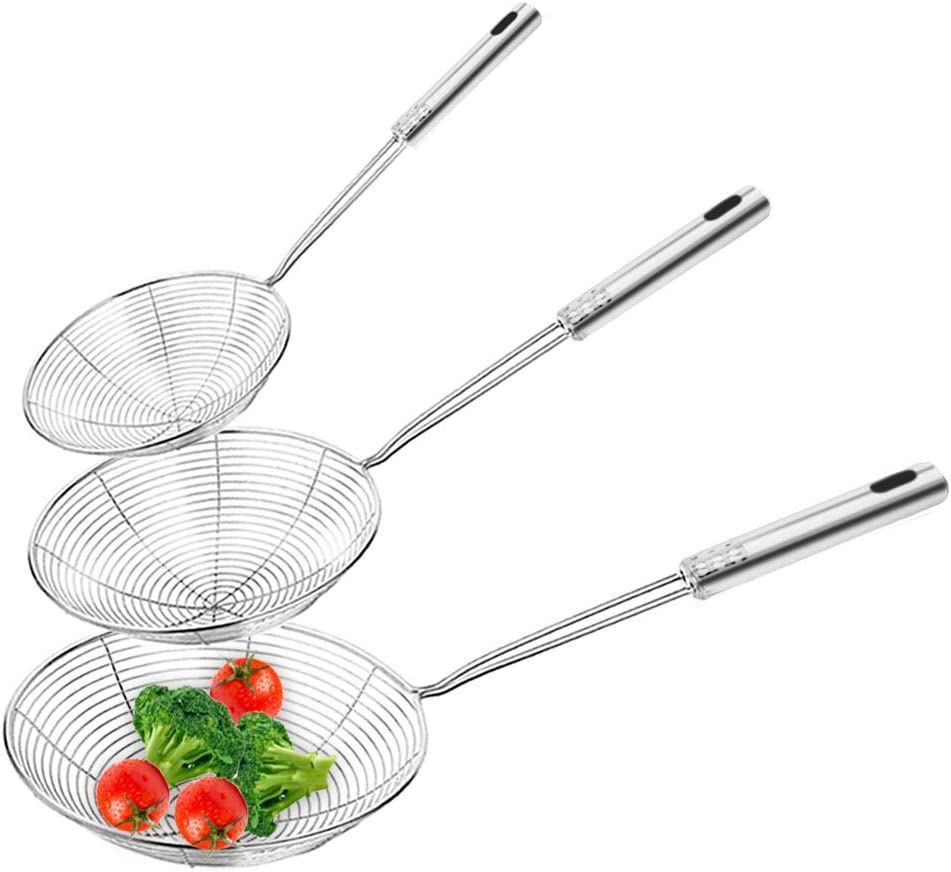 3 Pack Skimmer Spoons,Professional Kitchen Skimmer Ladle,Long Handle Strainer(5