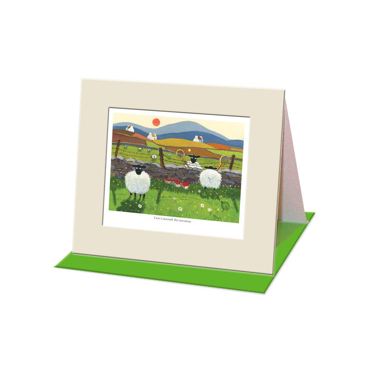 """""""Ewe Cannot Be Serious"""" Mounted Greeting Card by Thomas Joseph - Friendship Sheep Range Morrigan Ltd"""