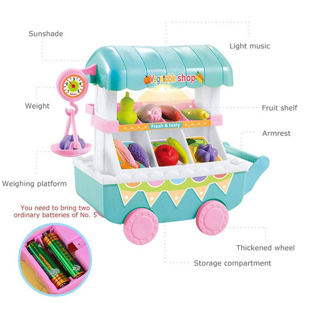 Mini tienda de frutas de verduras, 28 piezas de carritos de compras de supermercado para niños, juguetes con simulación de música ligera, carritos pequeños, ...