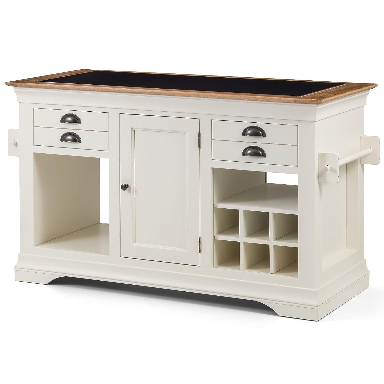 Dijon cream painted furniture large granite top kitchen island