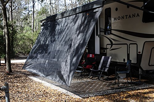 VroomTec recreational Home Awning Shade Panels, Excellent Recreational Vehicle Accessory, Cuts Out Blinding Sunlight Without Obscuring View, RV shade panel that Withstands the Elements (6X15, Black)