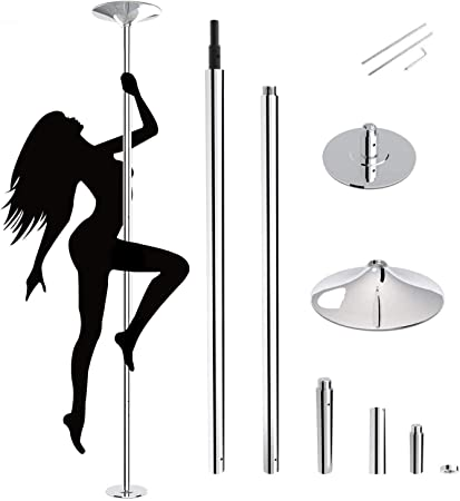HBOKIT Stripper Pole Spinning and Static Dance Pole Portable Removable Dancer Pole Kit for Professionals Beginners Indoor Fitness Exercise Club Party Pub with Tool