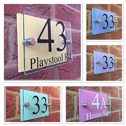 Modern house sign door number plaque / street Glass effect acrylic / Pastel colour backs