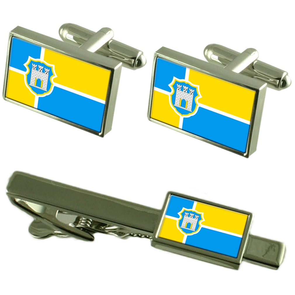 市 Zhytomyr ウクライナの国旗カフスボタンタイクリップボックスギフトセット   B071CKQTL2
