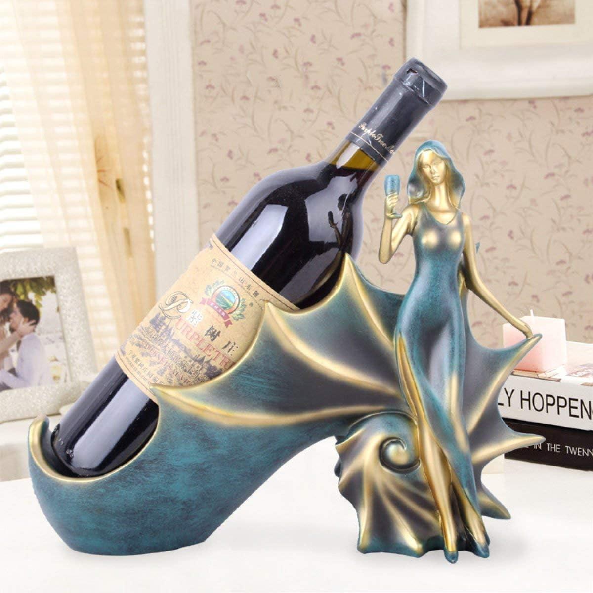 El estante del vino NaNa Estante del vino de resina artesanal minimalismo moderno vino azules chica concha bastidores Inicio escaparate de vino armarios decorativos mobiliario estante de cristal del v