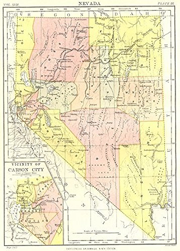Amazon Com Nevada State Map Showing Counties Inset Carson City