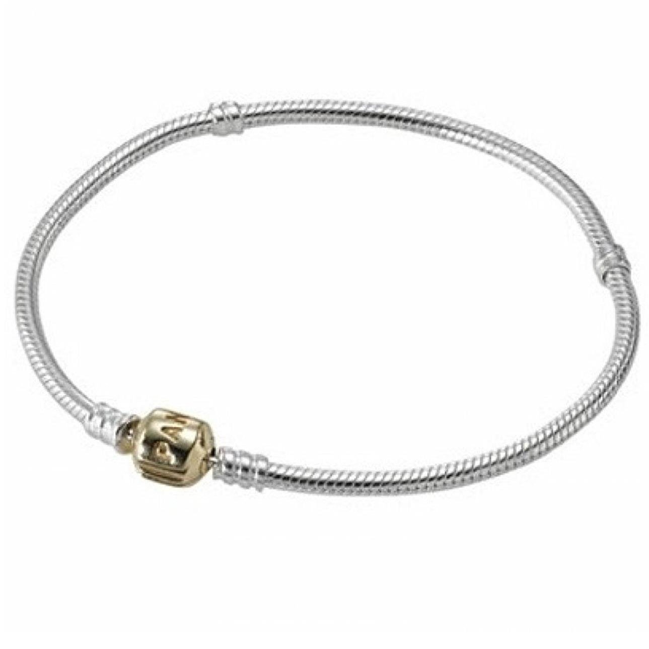 846e2b58b Amazon.com: Pandora Barrel Clasp Silver & Gold Bracelet 590702HG19: Strands  Of Beads: Jewelry
