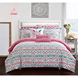 L&M 6 Piece Girls White Pink Teal Blue Aztec Tribal Motif Themed Duvet Cover Twin Set, All Over Bright Ikat Southwest Bedding, Vibrant Girly Intricate South West Native American Pattern, Microfiber