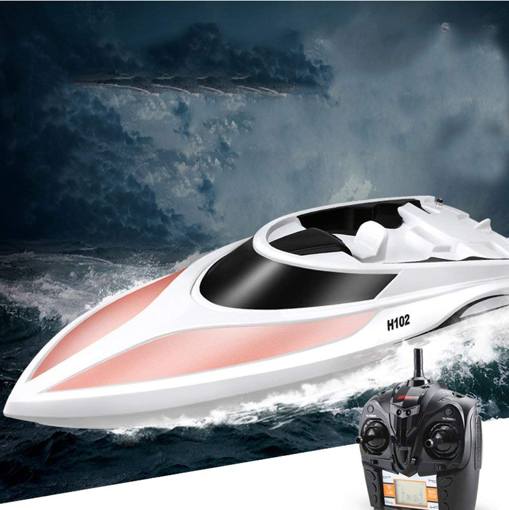 Remote Control Boat 2.4GHz 4CH Electric Radio RC High Speed Racing Ship Yacht for Lake Boy Kids Toddlers