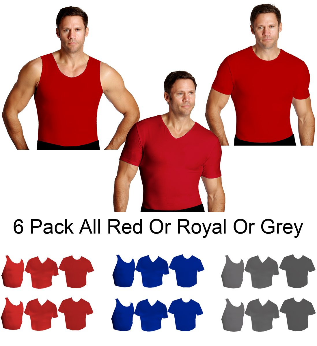 IS PRO 6pc Variety pack, 2 ea. Muscle tank, Crew-neck and V-neck shirts - Red-XL