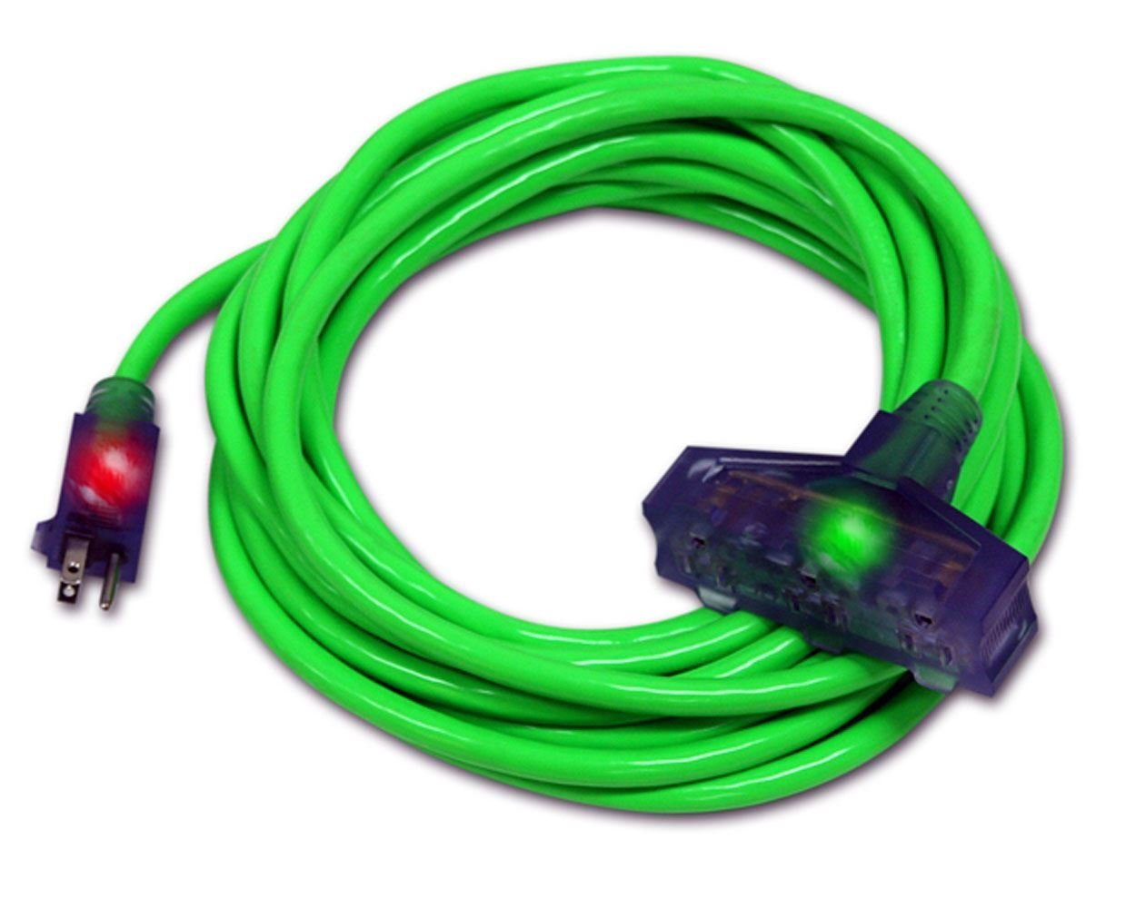 10 Gauge Triple Tap Extension Cord With Lighted Ends Century Contractor Grade 100' 10 Gauge Power Extension Cord 10/3 Plug Heavy Duty Indoor Outdoor Triple Outlet (100 ft 10 AWG Copper, green) by Century Extension Cord (Image #4)