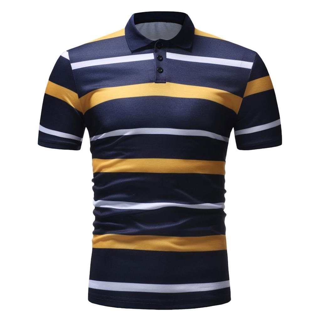 vermers Mens Fashion Polo Shirts Summer Casual Buttons Striped Short Sleeve T Shirt(2XL, Yellow) by vermers (Image #3)