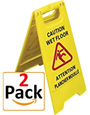 Caution Wet Floor Sign, Bilingual English and French, Two-Sided Yellow Slippery Floor Hazard Sign with Falling Person Imprint in Red Colour, A-Frame, High Quality, Durable (Set of Two Signs)