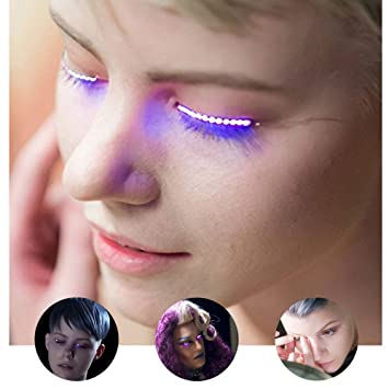 Flashy LED False Lashes LED Light Eyelash Shining Eyeliner Fake Eyelashes Shining & Charming for Nightclub...