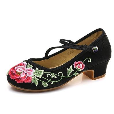 8ef11b9974 YYF Fille Femme Chaussure A Talon Fleur Broderie Chinoise Confortable a  Porter Elegante pour Ete Printemps
