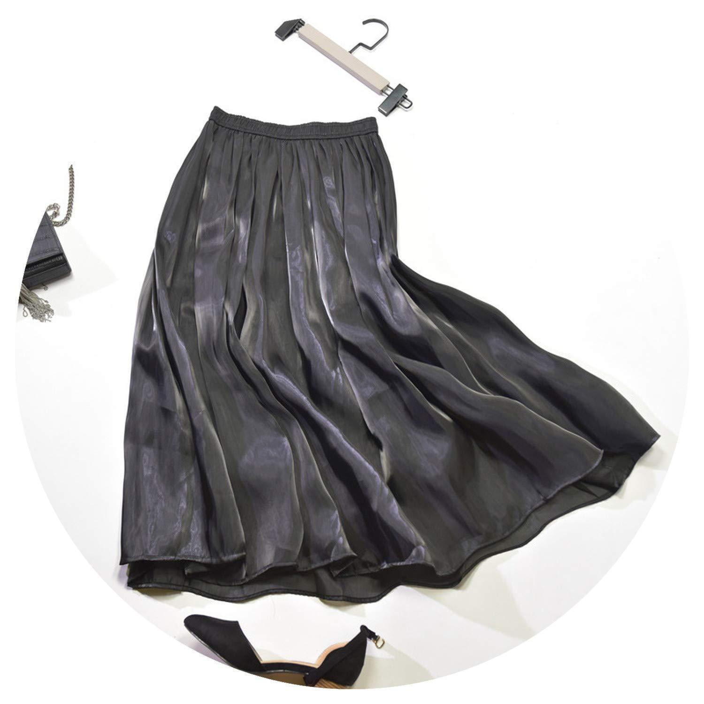 Black Women HighWaisted Pleated Skirts Midi Summer Maxi Satin Silk Skirt for Women Elegant Skirt Pleated Midi Jupe Longue Femme
