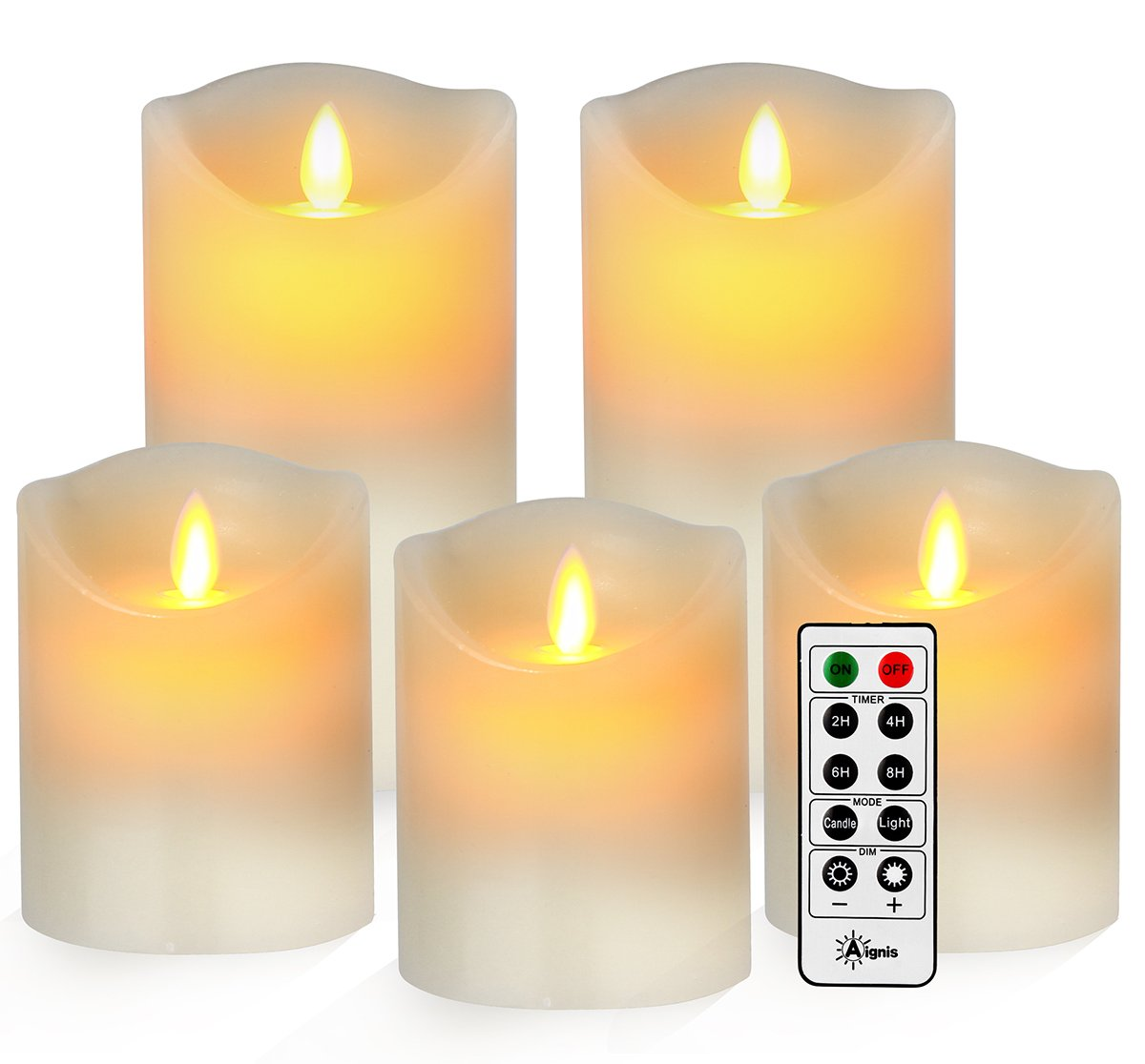 Battery Candles, Flameless Candles Realistic Moving Set of 5 (4/4/4/6/6) Flickering Candles With 10-key Remote Control with 24-hour Timer Function by Aignis (ivory)