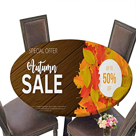 Amazon Com Polyester Round Tablecloth Table Cover Autumn Sale