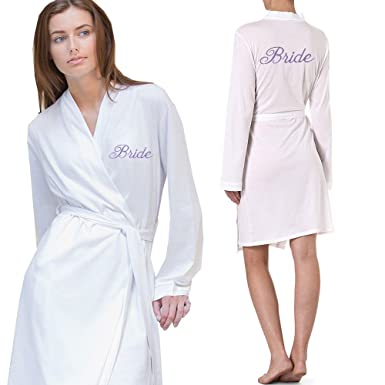 Personalised Bathrobe Embroidered Wedding Day Dressing Gown Robe 100 Jersey Cotton Amazoncouk Clothing