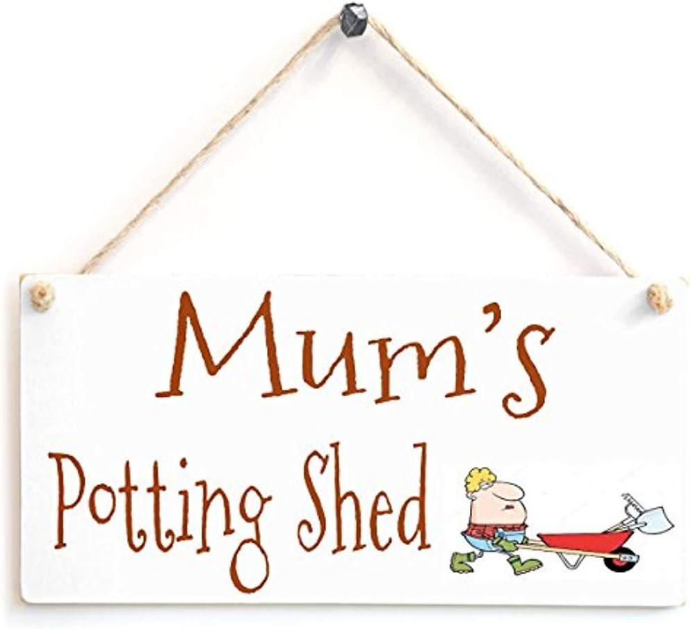Diuangfoong Potting Shed Garden Sign Andndash; Mum's Potting Shed Wooden Sign Gift