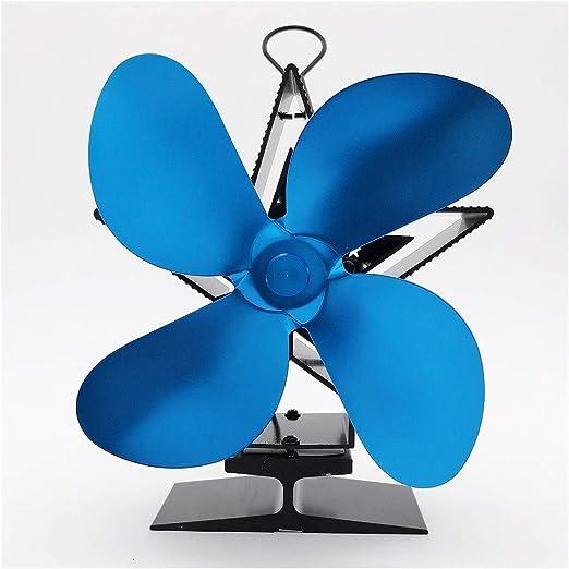 GMKJ Ventilador de energía térmica Azul Chimenea del Ventilador del Ventilador, Estufa de leña for Las aspas del Ventilador de la Chimenea de Calor Chimenea for el Invierno: Amazon.es: Hogar