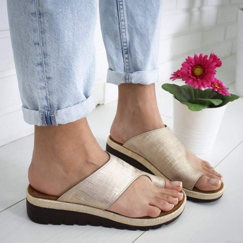 Womens Sandals Comfy Platform Sandal Bunion Corrector Platform Shoes Open Toe Ankle Beach Shoes Roman Slippers