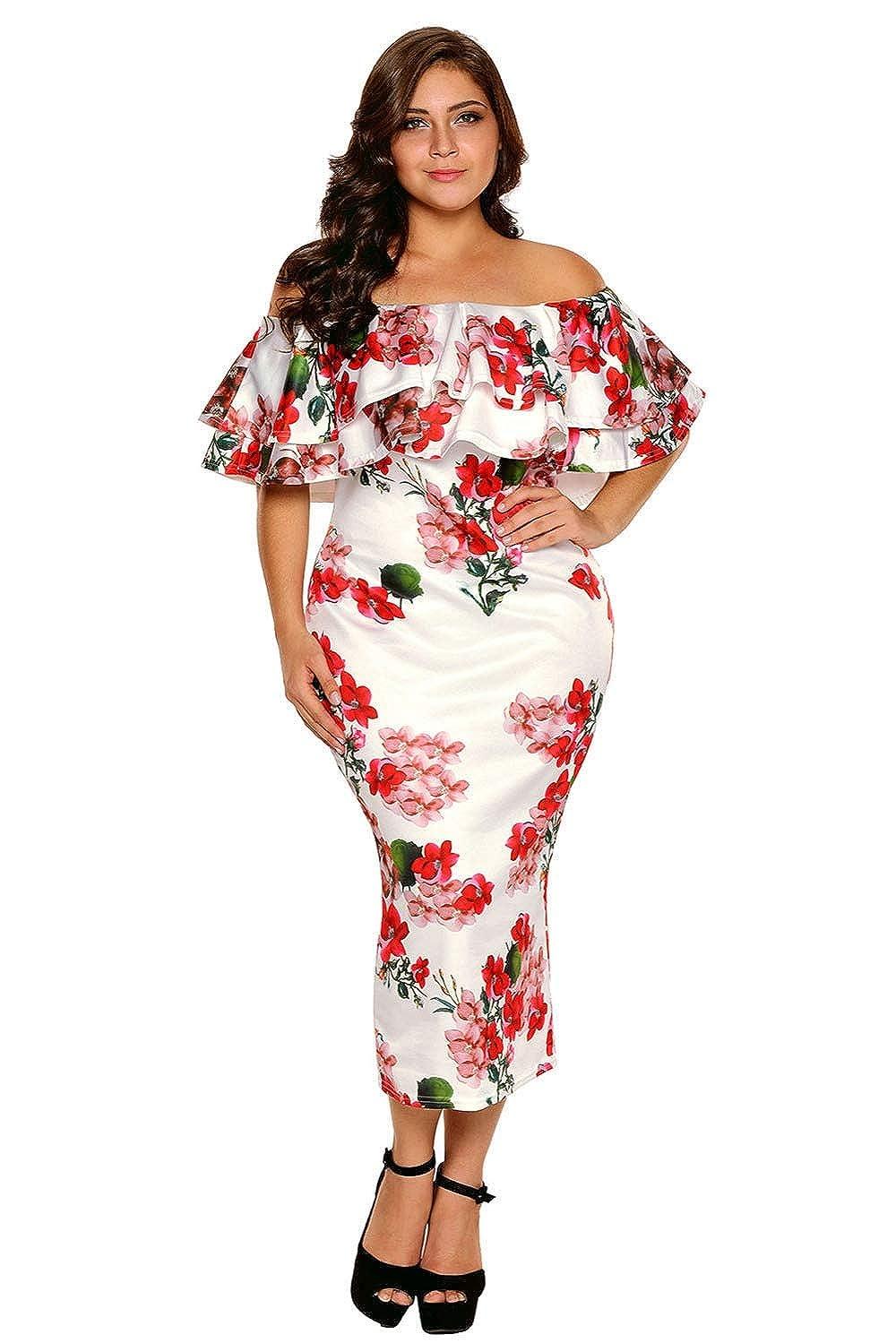 Vestidos XXL Tallas Grandes Plus Ropa De Moda para Mujer Sexys Casuales Largos De Fiesta Elegantes Blancos Rojos VE0075 at Amazon Womens Clothing store: