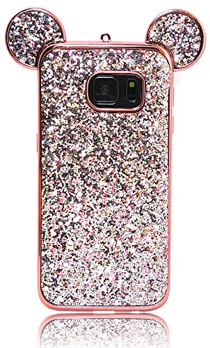 - Samsung Galaxy S7 Glitter Mickey Ears Case, Luxury Protective TPU Bling Crystal Rhinestone Sparkle Glitter Diamond Case Cover For Galaxy S7 (Glitter Ears Rose Gold)