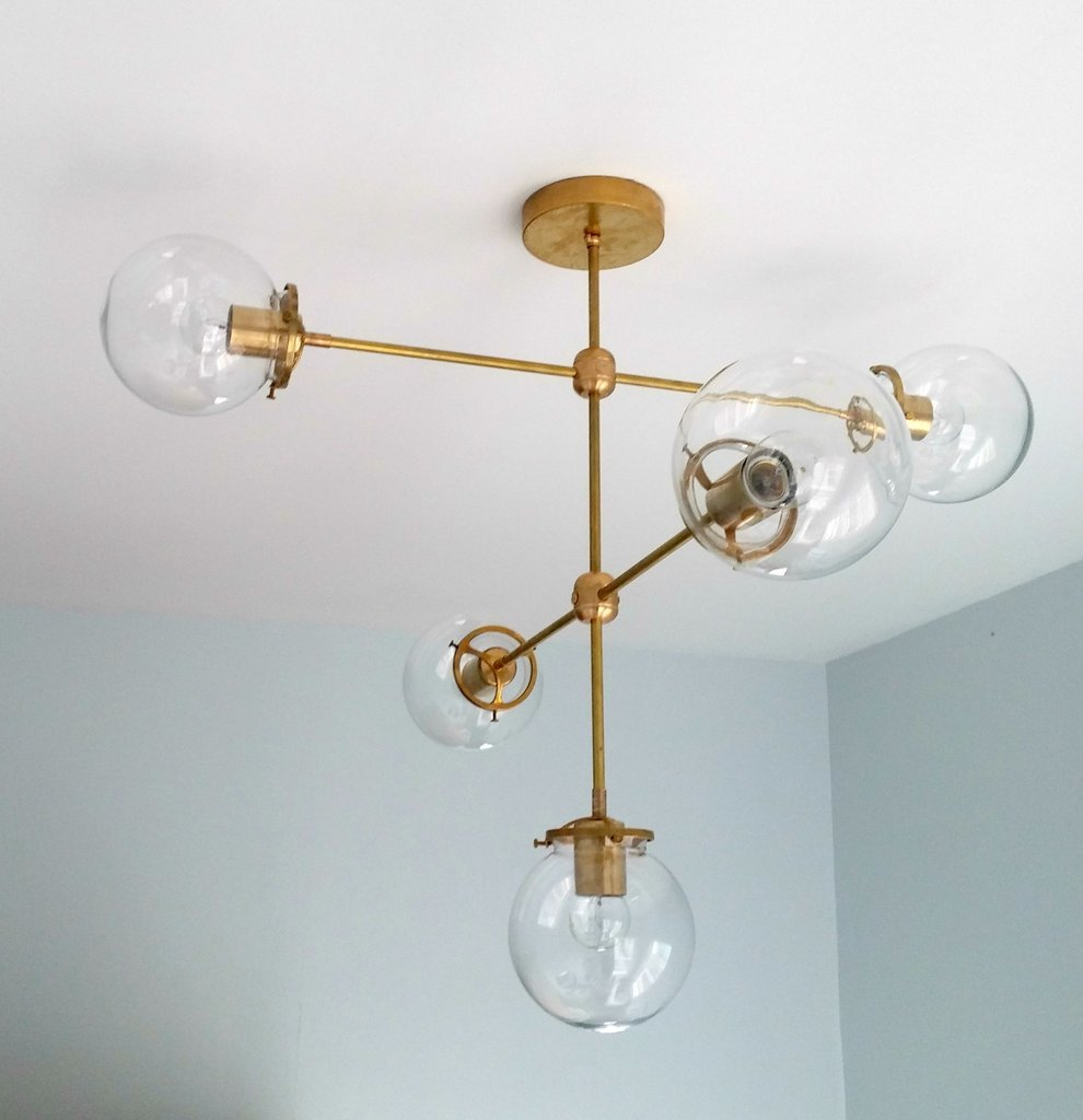 Large Brass And Glass Modern Chandelier 5 Light Mid Century