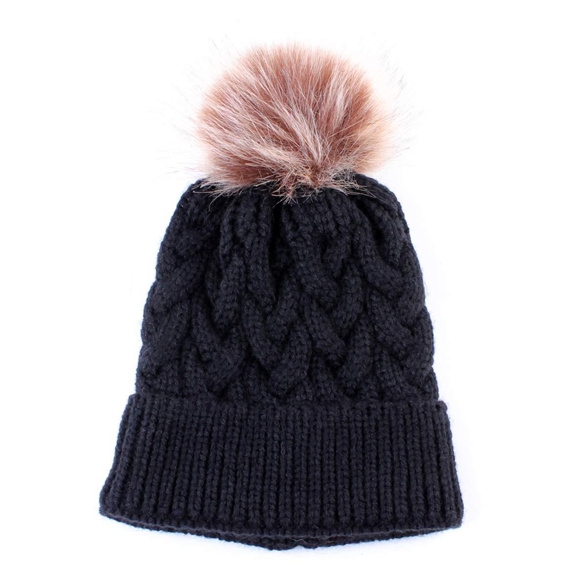 8403f62606f Amazon.com  Yinuoday Baby Knit Hat Cap Winter Warm Wool Infant Toddler Kids Crochet  Beanie Cap New (Black)  Clothing