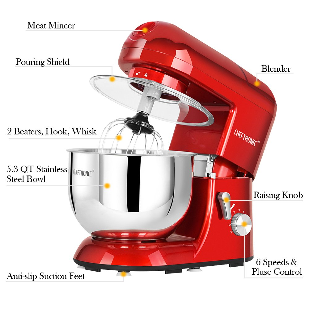 CHEFTRONIC Stand Mixer Tilt-Head 120V/650W Electric Stand Mixer with 5.5QT Stainless Bowl, 6 Speed Multifunctional Kitchen Mixer, Meat grinder, Sausage stuffer, pasta dies and Juice Blender by CHEFTRONIC (Image #4)
