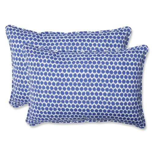 Pillow Perfect Outdoor Seeing Spots Rectangular Throw Pillow, Over-Sized, Navy, Set of 2