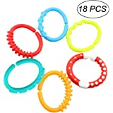 Teether Rings, Linkables Baby Teething Toys Colorful and BPA-Free Teething Toys Links Rattle Strollers Toys for Infant Newborns Kids Toddler Children - Pack of 18